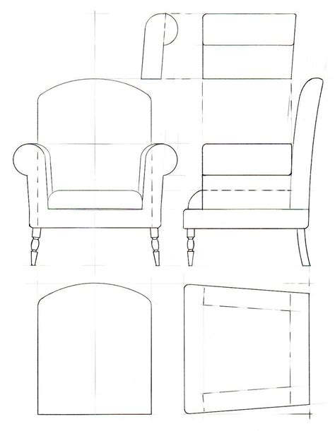how to draw a armchair template drawings for furniture model making davidneat