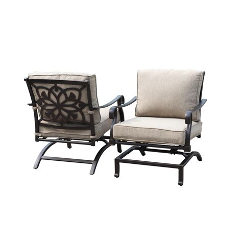 Aluminum Patio Chairs Shop Allen Roth Ebervale 2 Count Brown With Golden Brush Aluminum Patio Conversation Chair