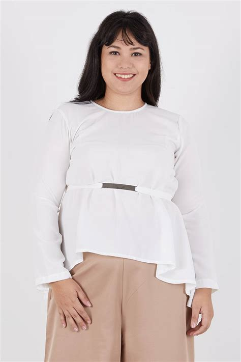 Kaos Billabong Lengan Panjang Big Size 2xl 3xl 4xl sell rowena knot top white blouse berrybenka