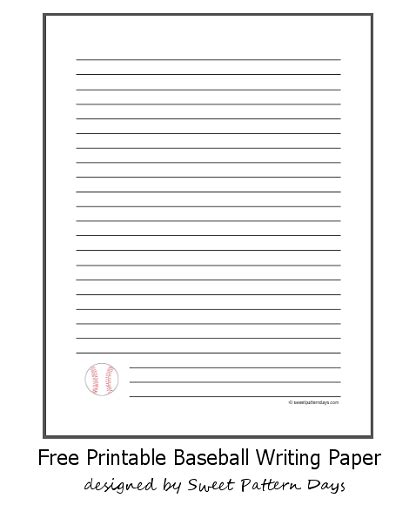 free themed writing paper free printable baseball writing paper diy