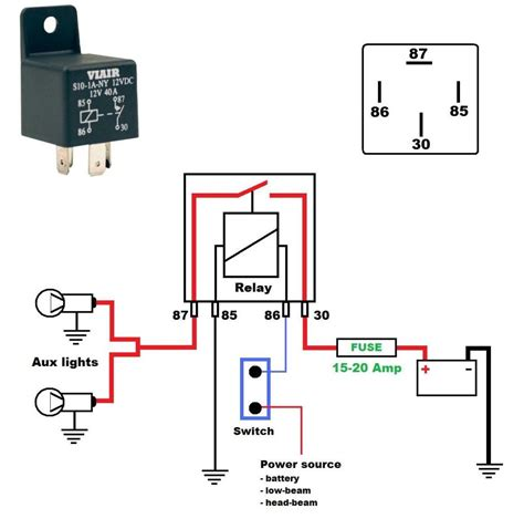 12v relay wiring diagram spotlights wiring diagram for a 12v 40 relay harley davidson forums