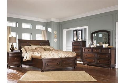 furniture porter bedroom rustic brown porter california king sleigh bed view 3