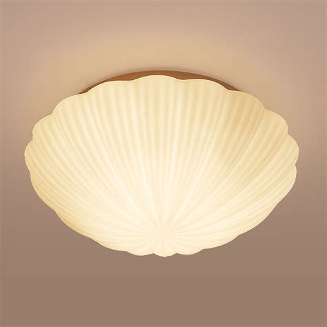 Shell Shape Led Ceiling Light Modern Warm Bedroom Glass Shaped Ceiling Light