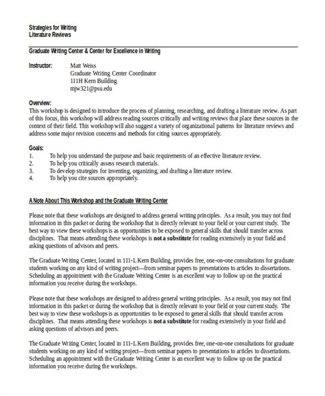 Writing A Dissertation Literature Review by 10 Literature Review Exles Free Premium Templates