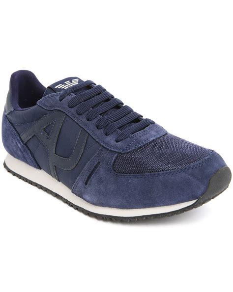 armani shoes armani black dual fabric aj logo white sole sneakers