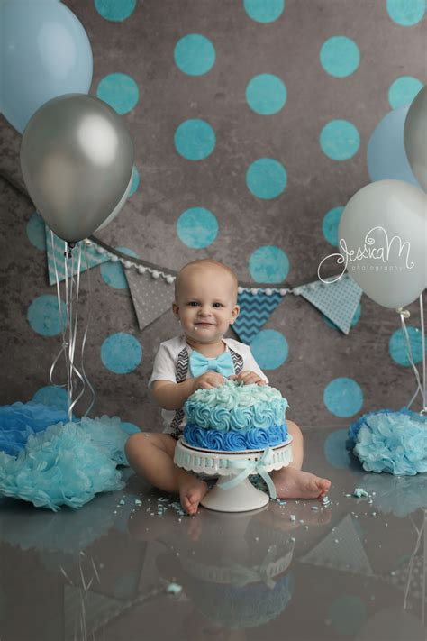 Grey And Blue  Ee  First Ee    Ee  Birthday Ee   Cake Smash Session For Boys