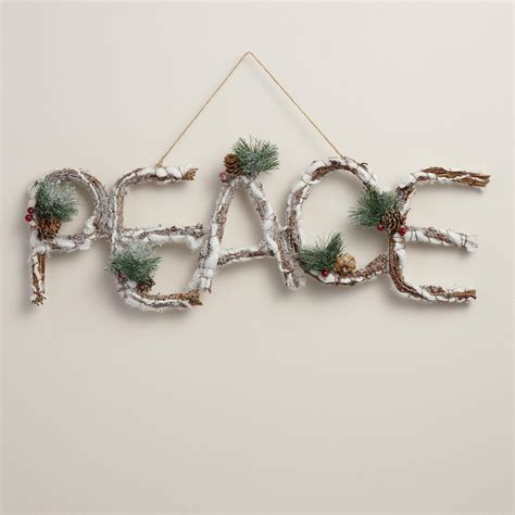 twig wall decor glittered twig peace wall d 233 cor world market