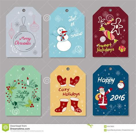 set of christmas and new year gift tags stock vector