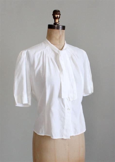 Blouse Rayon vintage 1940s white rayon blouse raleigh vintage