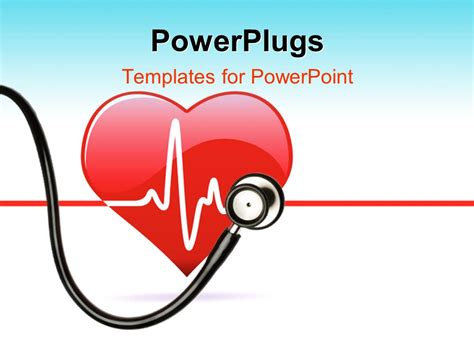 template powerpoint heart powerpoint template red heart with stethoscope and ecg