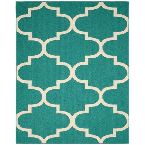 black and white pattern area rug garland rug large quatrefoil teal ivory 8 ft x 10 ft