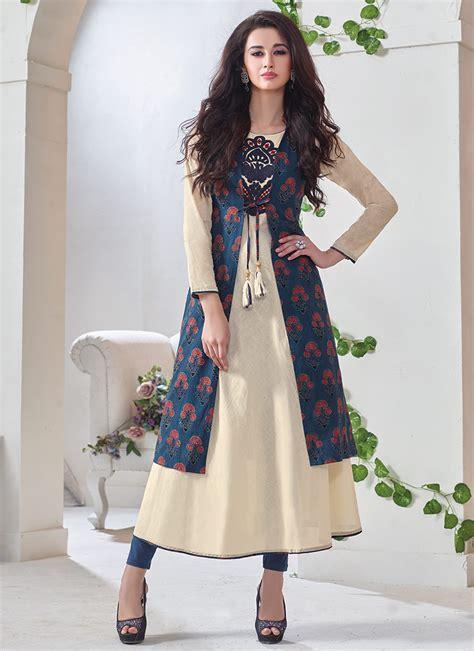 jacket pattern kurti online buy cream n blue jacket model kurti long kurti online