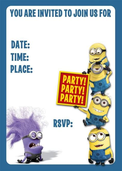 Minions Invite Evil Blank Humour Minions Pinterest Minion Birthday The O Jays And Birthdays Minion Birthday Invitations Templates Free