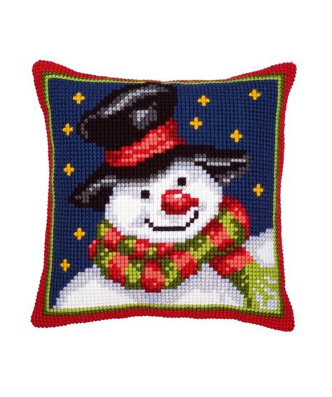 cuscini a punto croce cuscino punto croce pupazzo di neve
