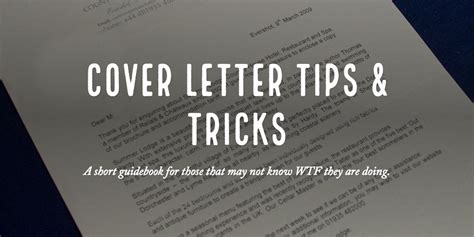 Cover Letter Tips And Tricks Cover Letter Tips Poulos
