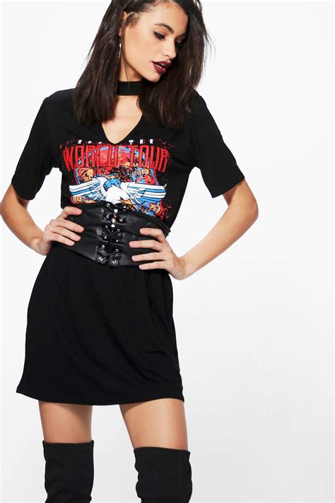 aly printed band belt detail 2 in 1 t shirt dress at