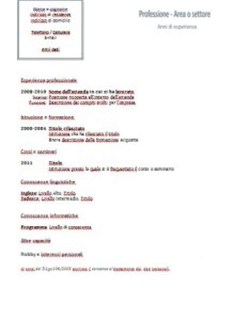 Modello Curriculum Vitae Italiano Da Compilare Modello Curriculum Modello Curriculum
