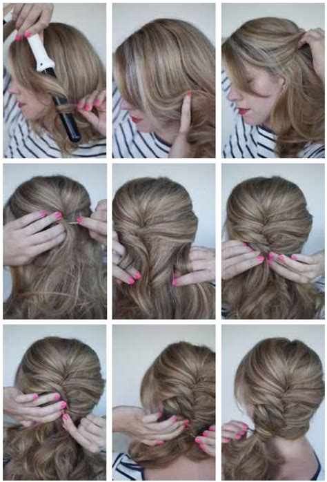 easy updos for short hair step by step curly side ponytail for step by step instructions go to