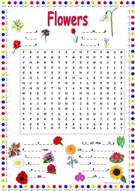 printable games about flowers flower wordsearch worksheet free esl printable