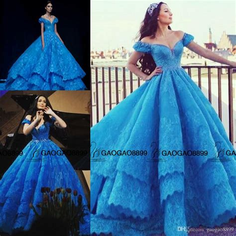 Cinderella in Michael Cinco Blue Lace Puffy Ball Gown Prom Dresses Custom Make Tiered Skirt
