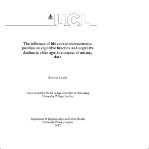 ucl thesis abstract the influence of life course socioeconomic position on