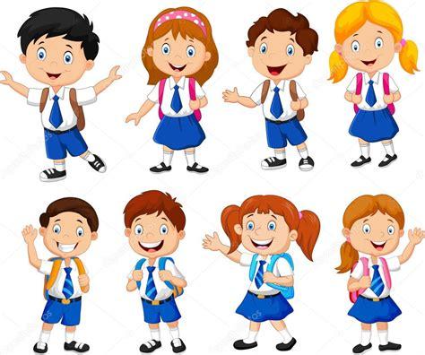 children clipart illustration of school children stock vector