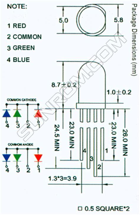 resistors for rgb led rgb led 5mm common cathode diffused 3933 sunrom electronics technologies