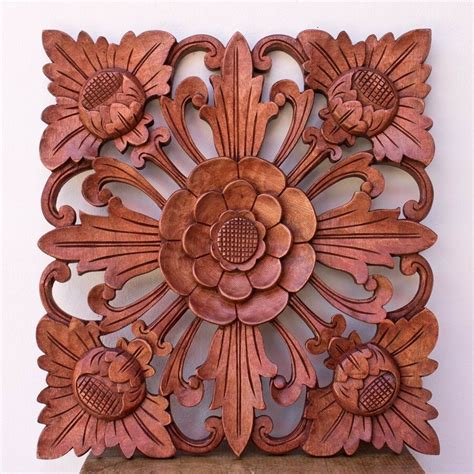 15in balinese traditional lotus flower carved wooden panel wall architectural ebay