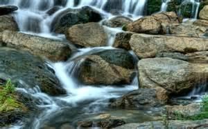 waterfall rocks wallpaperart