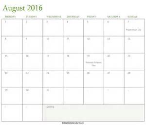 printable calendar templates calendar august 2016 printable template editablecalendar