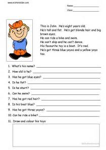 this is john simple reading comprehension worksheet
