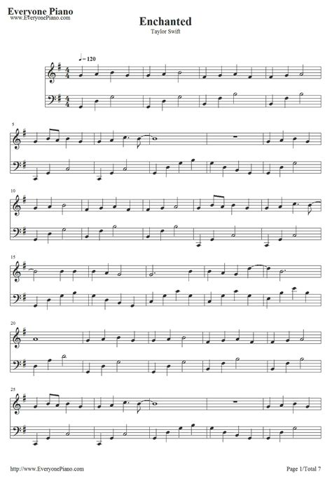 enchanted by taylor swift piano sheet music enchanted taylor swift stave preview 1 violin sheet