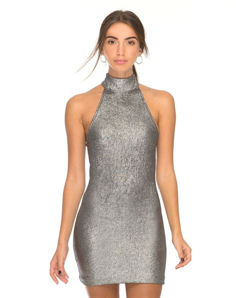 Halterneck Dress halter neck silver bodycon dress forbes motel rocks