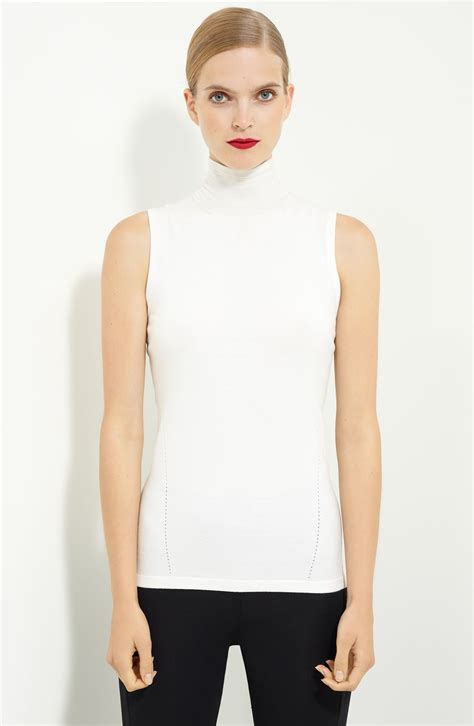 Contrast Mock Neck Knit Top donna karan sleeveless mock neck top in white ivory lyst