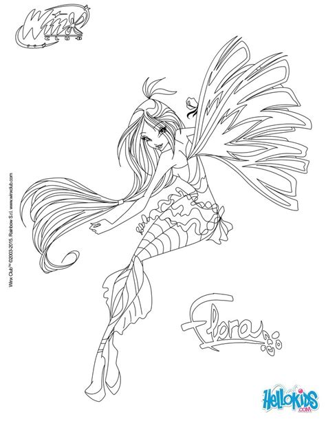 flora transformation sirenix coloring pages hellokids com