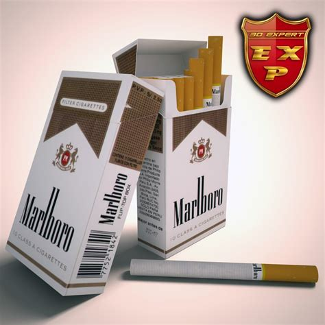 Ac General 3 4 Pk marlboro lights cigarette pack 3d model max obj 3ds