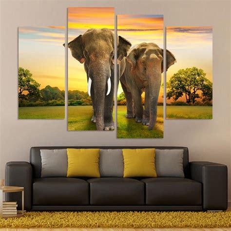 2016 sale real paintings fallout unframed 5 panels eiffel online get cheap elephant wall art aliexpress com