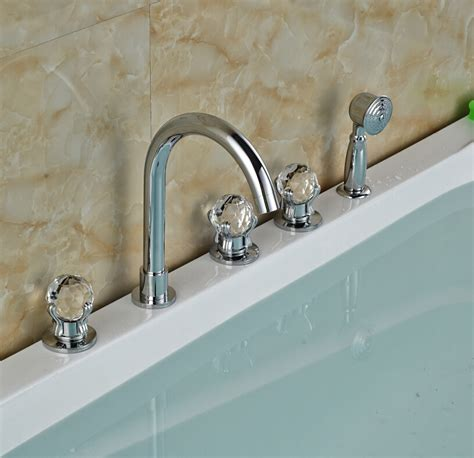 deck mount bathtub faucet with sprayer luxury chrome brass bathroom tub faucet spout deck mounted