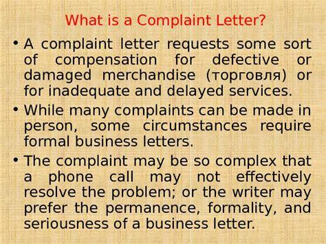 Complaint Letter With Question Complaint Letters Problem Questions 1 1