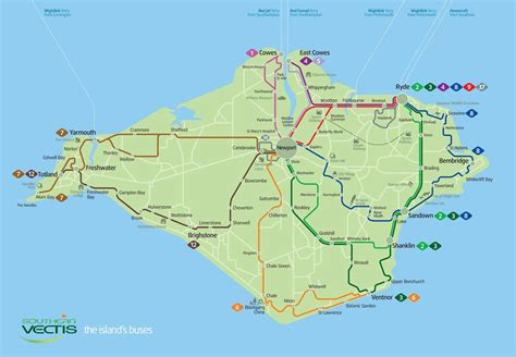 printable road map of isle of wight official map southern vectis bus map isle of