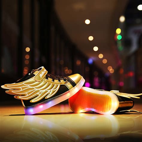 Sepatu Adidas Led Shoes Anakkids Ms631 brand led trainers led light shoes usb charging gold wing shoes with light basket led