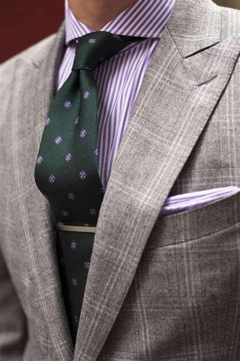 pattern shirt with striped tie grey windowpane w purple shirt green tie beg your