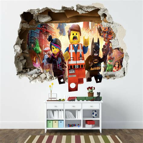 lego wall decals for rooms lego smashed wall sticker bedroom boys vinyl wall ebay