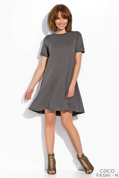 mini swing dress dark grey short sleeves mini swing dress