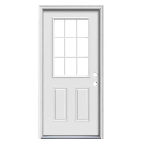 Prehung Exterior Door Shop Reliabilt Simulated Divided Light Left Inswing Primed Steel Prehung Entry Door With