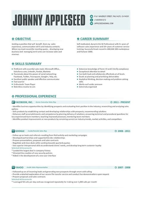 resume exles there was the following interesting ideas