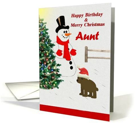 Happy Birthday And Merry Card Aunt Happy Birthday Merry Christmas Snowman In The