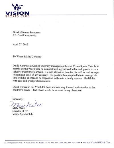 Ithaca College Letter Of Recommendation Recommendations David Kantrowitz