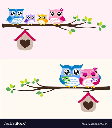 Owl Family Royalty Free Vector Image Vectorstock Ancestry Stock Images Royalty Free Images Vectors