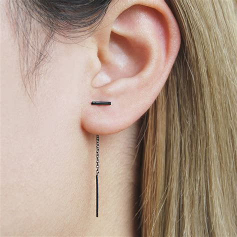 Bar Threader Earring oxidised silver threader bar earrings by otis jaxon silver